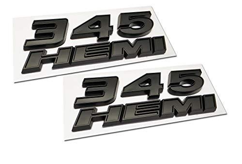 2pcs 345 Hemi Emblem Fender Side Badge Sticker 6 4l Decal Replacement For Ram Challenger Srt Chrysler 300c 3500 Srt8 Black