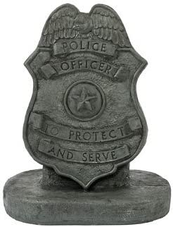 Solid Rock Stoneworks Police Badge Stone Plaque Statue 17in Tall Indigo