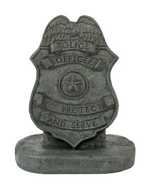 Solid Rock Stoneworks Police Badge Stone Plaque Statue 17in Tall Indigo For Sale