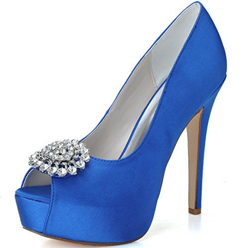 Clearbridal Women's Satin Wedding Bridal Shoes Open Peep Toe High Heel for Evening Prom Party with Rhinestone Crystal ZXF3128-20A Royal Blue FRHw1Zjrvf