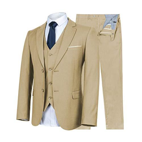 WULFUL Men's Suit Slim Fit 3 Piece Suit Blazer Two Button Tuxedo Business Wedding Party Jackets Vest&Trousers Khaki