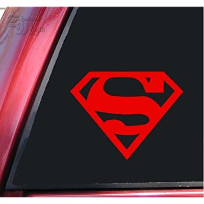 "ShadowMajik Superman Vinyl Decal Sticker (6"" X 4.7"", Red): Automotive"