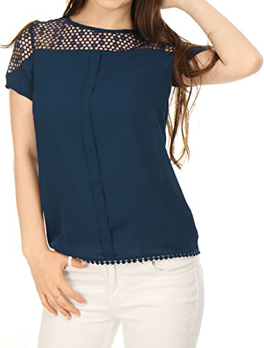Allegra K Women's Short Sleeves Semi Sheer Placket Front Guipure Lace Top Blue L  (US  14)