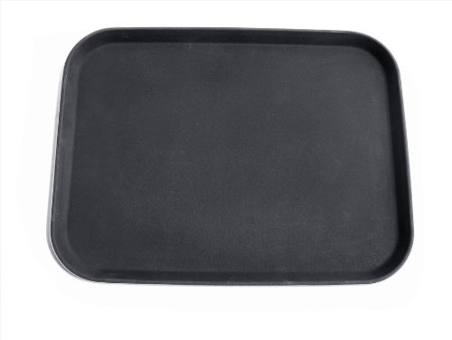 New Star Foodservice 24852 Non-Slip Tray, Plastic, Rubber Lined, Rectangular, 10 x 14 inch, Black
