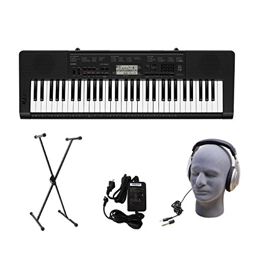 Casio CTK-3200 61-Key Premium Portable Keyboard Package with Headphones Stand and Power Supply