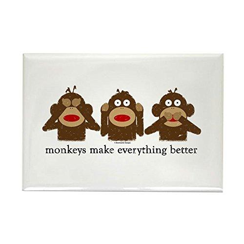 Sock Monkey Magnets - CafePress 3 Wise Sock Monkeys Rectangle Magnet, 2