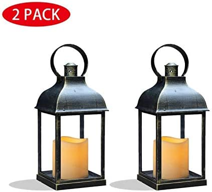 Hurrica... GiveU Decorative Rustic Lantern with Flickering Flameless LED Candle