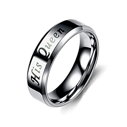 JEWH King Queen Rings - Stainless Steel Couples Lovers Rings for Men Women - Romantic Wedding