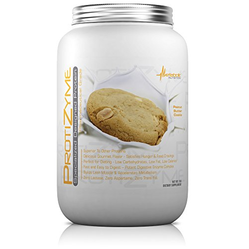 Metabolic Nutrition, Protizyme, 100% Whey Protein Powder, High Protein, Low Carb, Low Fat Whey Protein, Digestive Enzymes, 24 Essential Vitamins and Minerals, Peanut Butter Cookie, 2 Pound (26 ser)