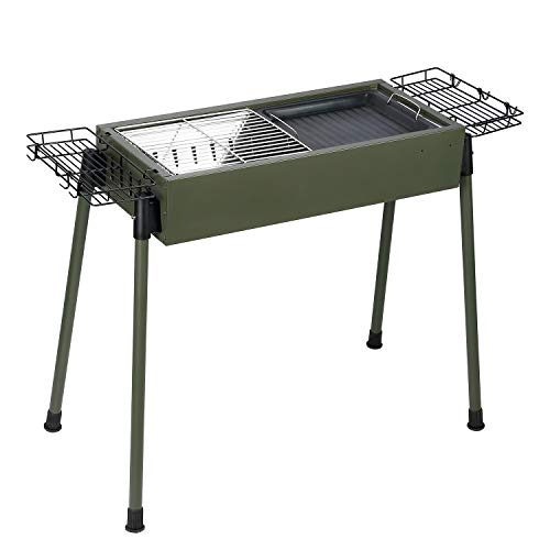 Uten Barbecue Charcoal Grill Stainless Steel, Portable BBQ Grill for Outdoor Cooking Camping Picnics – Green