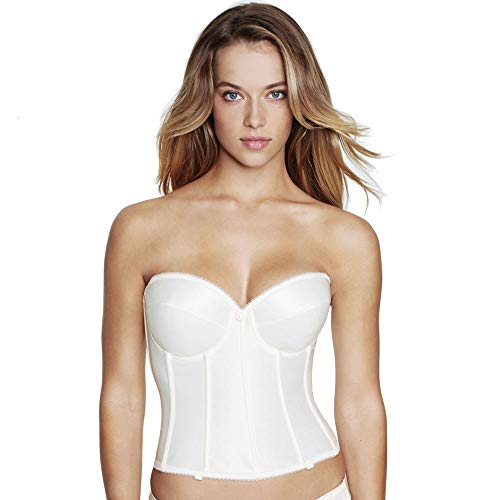 Dominique Satin Low Back Strapless Underwire Bustier Style 7750 - Ivory - 36DD