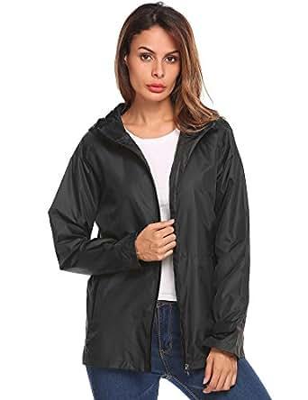 Asatr Women's Waterproof Lightweight Rain Jacket Anorak With Detachable Hood Dark Blue