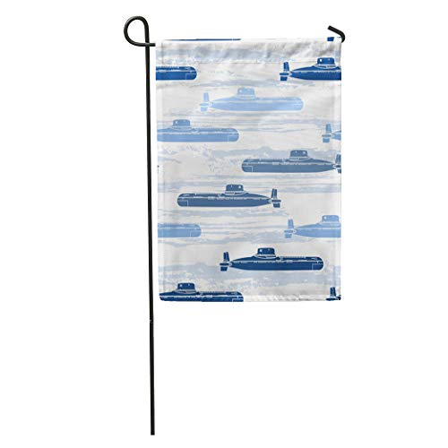 Semtomn Garden Flag Blue Ship Submarines Marine Navy Pattern Abstract Atomic Boat Boy Home Yard House Decor Barnner Outdoor Stand 28x40 Inches Flag ()