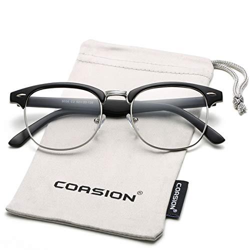 COASION Vintage Semi-Rimless Clear Glasses Fake Nerd Horn Rimmed Eyeglasses Frame (Matte Black/Silver ()