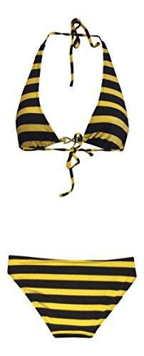 Mujer escotada del triángulo superior e Fondo bikini Conjunto Negro Oro raya