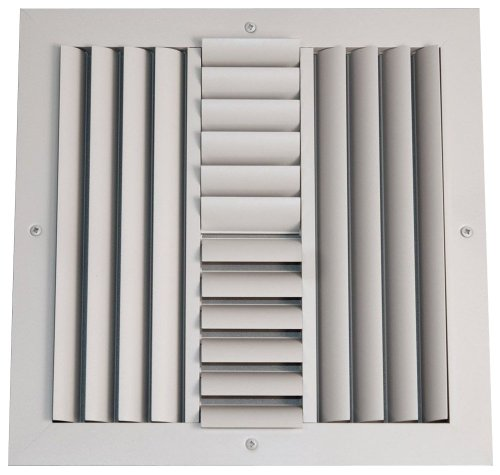 Speedi-Grille SGA-88 ACB4 8-Inch by 8-Inch Soft White Aluminum 4-Way Ceiling Register with Adjustable Curved Blade - Vent Kit Directional