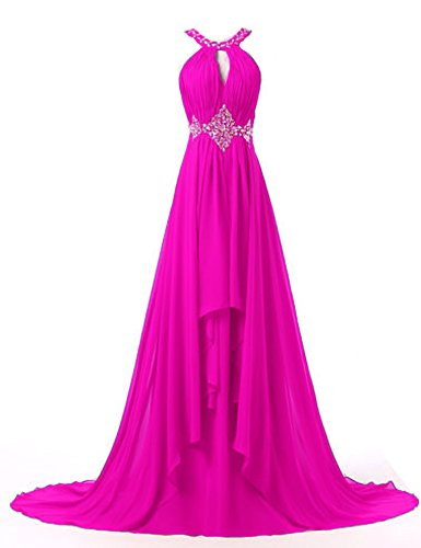 Bessdress Mousseline Licol Demoiselle D'honneur Empire Perles Longues Robes De Bal Bd190 Rose Chaud