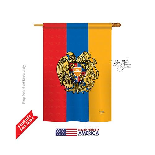 Breeze Decor H108195 Armenia World Nationality Vertical House Flag, 28″ x 40″, Multi-Color Review