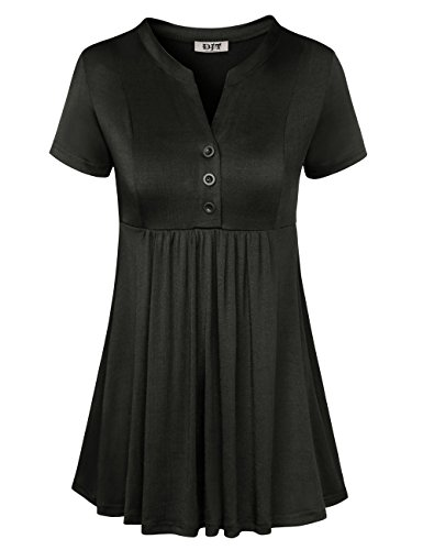 DJT Womens Short Sleeve Split V Neck Shirt Pleated Button Flare Tunic Tops