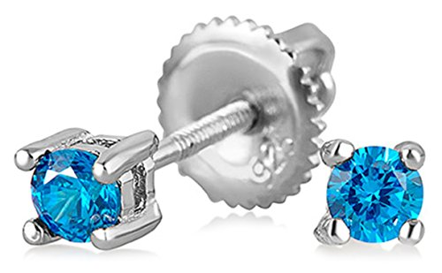 .25CT London Blue Simulated Topaz Brilliant Cut Solitaire Cubic Zirconia CZ Stud Earrings Sterling Silver Screwback ()