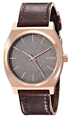 (Nixon Time Teller Rose Gold/Gunmetal/Brown Unisex Watch (37mm. Rose Gold/Gunmetal Face/Brown Leather)