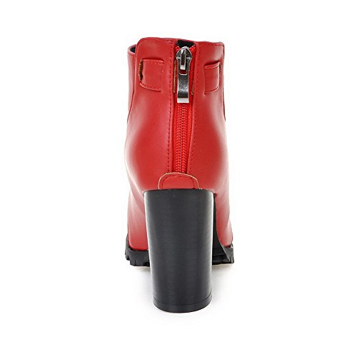 Toe Top Allhqfashion Women's Material Heels Closed Round Zipper Soft Boots High Red Low qYCqwv1