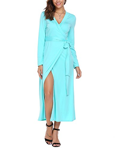 True Wrap for Women V-Neck Long Sleeve Casual Slit Dress with Belt Peacock Blue XXL