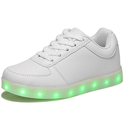 HOOSION Led Light up Shoes for Little Kid/Big Kid USB Rechargeable Sports Dancing White Sneakers