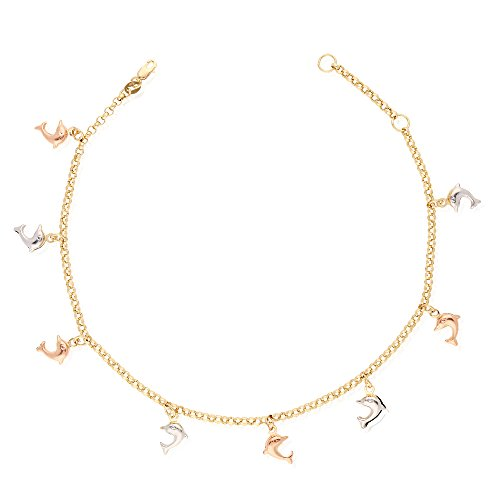 10k Yellow Gold Rolo Anklet Tri-Color Dolphin Charm Hollow Ankle Bracelet 9