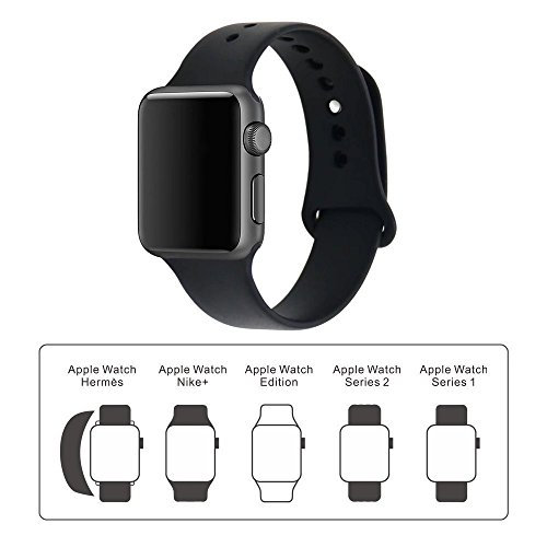 iDon Smart Watch Sport Band, Soft Silicone Replacement Sports Band Compatible iWatch Apple Watch Band Series 3/2/1, Apple Watch 38mm/42mm All Models