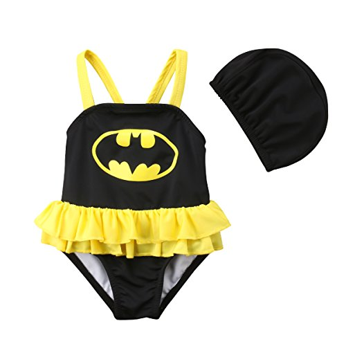 Baby Boys Girls Animal Shape Batman One Piece Swimsuit with Swimming Cap, Bathing Suits Toddlers Boys Rompers Beachwear Bodysuit (Girl, 100) ()