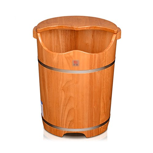 Oak foot bath bucket round bucket foot bath bucket with lid deep bucket tub footbath foot bath foot bath barrel (Color : Wood color, Size : 4050cm) (Bucket Bath Wood)