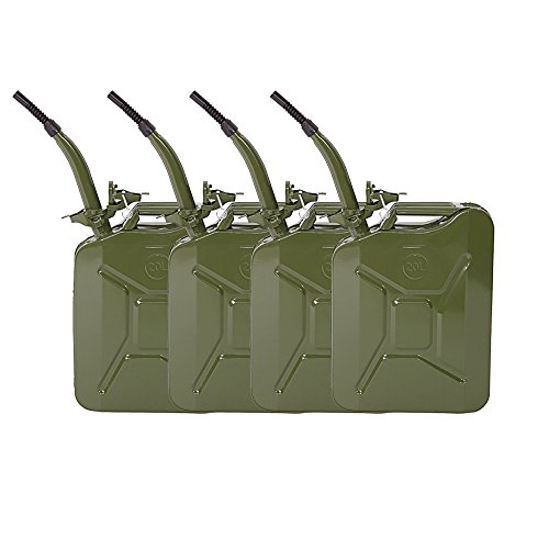 4Pcs 5 Gal 20L Portable Gasoline Gas Fuel Can Emergency Backup Oil Petrol Diesel Storage Can Steel Gas Tank (Army Green)