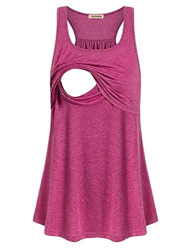 Larenba Breastfeeding Tank Tops, Best Sleeveless Nursing Maternity Shirt Tunic Feeding Flattering Cotton Blend Trapeze Double Layered Tops Pregnancy Nursing Outfits for Women Burgundy(Red,Medium) -