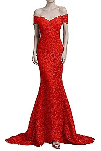 Festlichkleider Braut Rot Lang Marie Etuikleider Damen La Schulterfrei Abendkleider Partykleider aHv05w