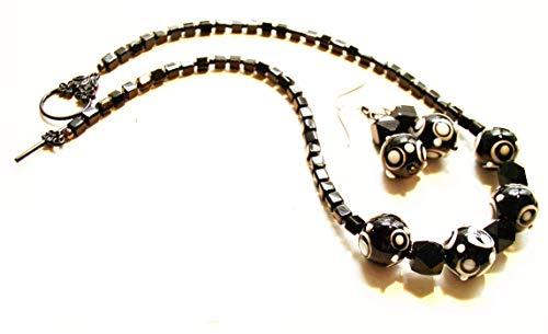 - Handmade Necklace & Earrings of Onyx & Lampwork Beads