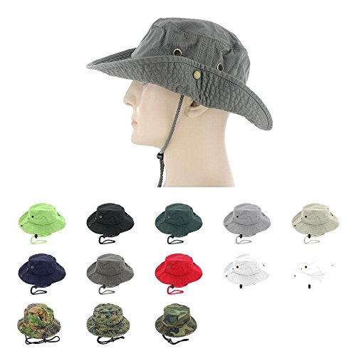 White_(US Seller)Unisex Hat Wide Brim Hiking Bucket Safari Cap Outback