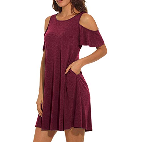 Landfox Dress,Clothing Shoes, Summer Cold Mid-Long Dress,Women's Shoulder Tunic Top Swing T-Shirt Loose Dress with Pockets Wine -