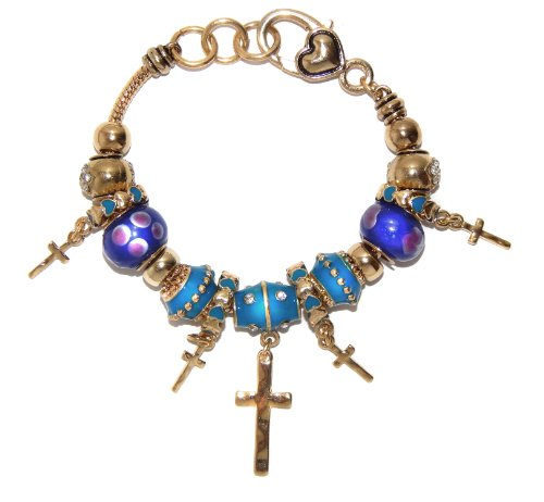 landau Ambrosia Cross with Blue Bead Theme Charm Bracelet