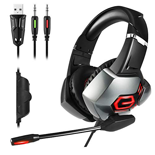 SKYWOO 2019 Newest Gaming Headset for PS4, Xbox One Headset with 7.1 Surround Sound Over-Ear Gaming Headphones with Noise Cancelling Mic & LED Light for PS4 Nintendo Switch Xbox One PC Laptop Mac