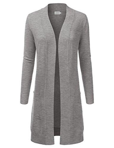 Knee Coat Nylon Length (JJ Perfection Womens Light Weight Long Sleeve Open Front Long Cardigan,Awocal0273_heathergrey,Large)