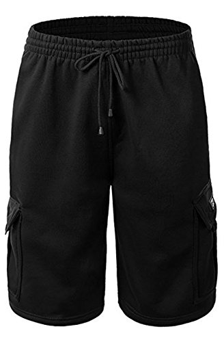 Urban Icon Men's Fleece Cargo Shorts Dream USA, 3X-Large, Black