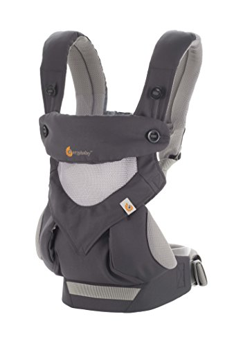 Ergobaby Carrier, 360 All Carry Positions Baby Carrier with Cool Air Mesh, Carbon Grey (Best Baby Carrier For 3 Month Old)