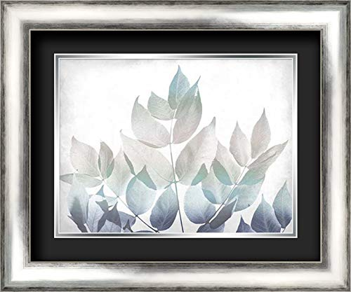 Antiqued Leaves 1 v2 24x20 Silver Contemporary Wood Framed and Double Matted (Black Over Silver) Art Print by Kimberly, Allen