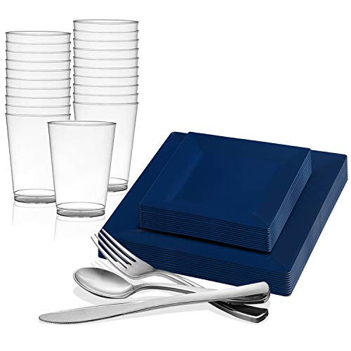 Disposable Plastic Dinnerware Set for 20 Guests - Includes Fancy Square Blue Dinner Plates, Dessert/Salad Plates, Silverware Set/Silver Cutlery & Cups For Wedding, Birthday Party & Other ()