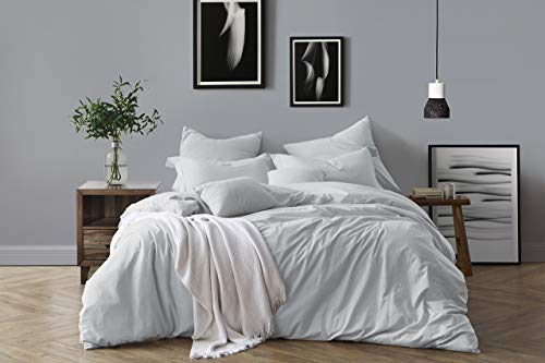 - Swift Home 100% Cotton Washed Yarn Dyed Chambray Duvet Cover & Sham Bedding Set, Ultra-Soft Luxury & Natural Wrinkled Look - King/California King, Pale Blue