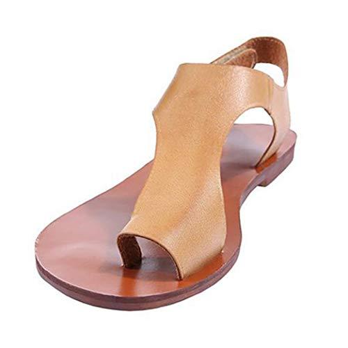 Boomboom Women Casual Ankle Strap Clip Toe Shoes Roman Flat Sandals Khaki US 5.5