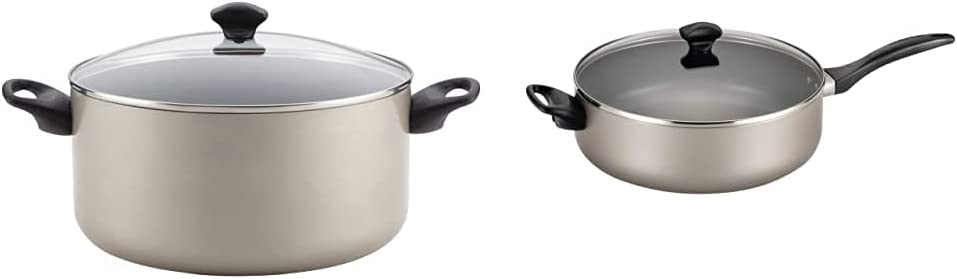 Farberware Promotional Cookware Aluminum Nonstick Covered Stockpot, 10.5-Quart, Champagne Silver & 21909 Dishwasher Safe Nonstick Jumbo Cooker/Saute Pan with Helper Handle - 6 Quart, Silver