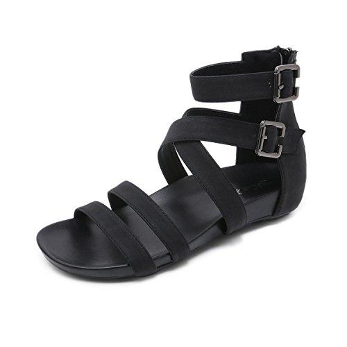 Mujeres Sandalias de Sandalias de Zapato Abierto Black Cinturón Cómodas Verano ww5xrqAR
