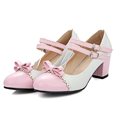 Coolcept Women Sweet Block Heels Court Shoes Strap Pink aSyHSBR